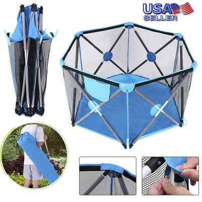Folding Portable Playpen Baby Play Yard With Travel Bag Indoor Outdoor Fence US