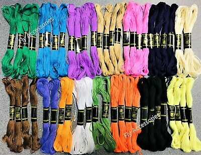 50 X Skeins Coloured Embroidery Thread Cotton Cross Stitch Braiding Craft Sewing