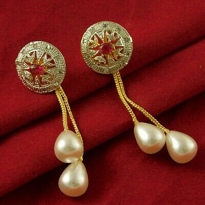 Ad Stone Gold Plated Earrings Bollywood Traditional Stud Engagement Jewellery