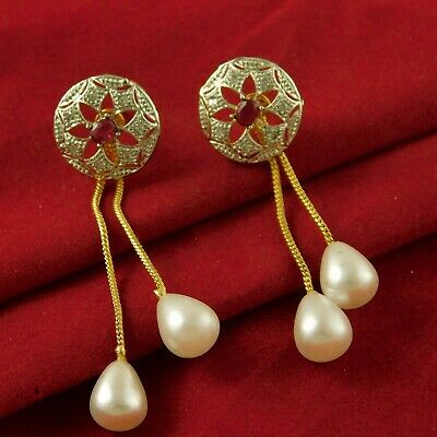 Ad Stone Wedding Gold Plated Earrings Traditional Stud Engagement Jewellery