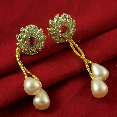 Ad Stone Gold Plated Engagement Earrings Traditional Wedding Stud Jewellery