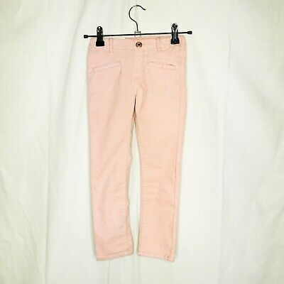 Hm Girls Age 4-5 Years Pink Velour Soft Slim Fit Trousers Jeans