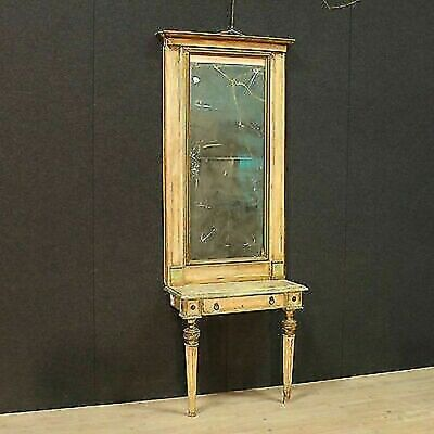 Antique Console with Mirror Table in Wood Lacquered Louis XVI Frame 900