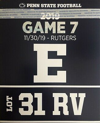 Penn State vs Rutgers Reserved RV Parking Pass