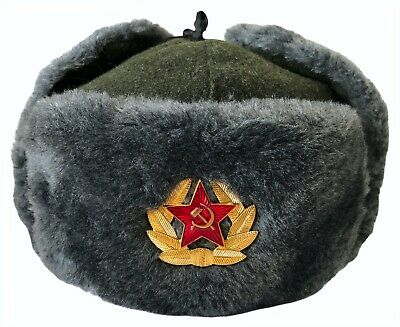 Russian Soldiers Soviet Military Style Army Cossack Grey Ushanka Hat USSR Badge