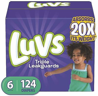 Diapers Luvs Ultra Leakguards Disposable Baby Newborn Size 6 124 Count Soft NEW