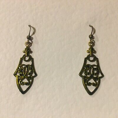 VICTORIAN STYLE FILIGREE OLIVE GREEN BRASS DROP EARRINGS PLATED DARK GOLD hook