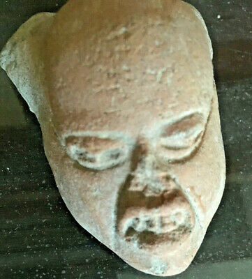 ANCIENT POTTERY Pre-Colombian Five Terracotta Head Mayan (700 B.C-1200 A.D) Mask