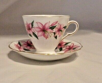 Cup Saucer Vintage Clarence Bone China England Pink Gold Trim  Flowers Retro