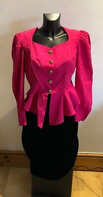 Dusk London pink jacket & black skirt suit vintage size 12