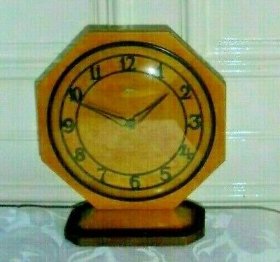 Vintage Art Deco Style Metamec Wooden Clock Converted to Battery Fully Working