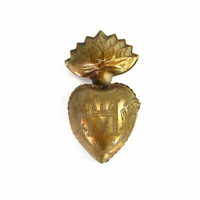 Med. Sacred Heart Ex Voto Milagro Antique Gold Burning Locket Box Ornament Santo