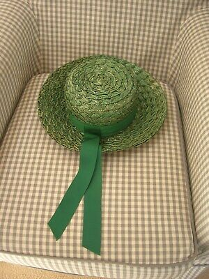 Vintage Green Straw Hat Boater green ribbon size 20.5 inches