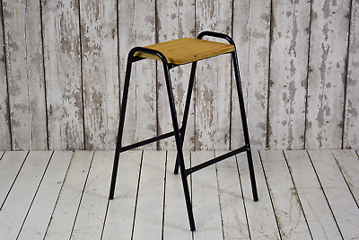 Vintage Style Lab Cafe Bar School Stool Plywood Top (12 AVAILABLE) inc VAT