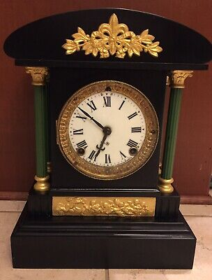 Antique Working ANSONIA Black Mantle Green Pillars Mantel Clock