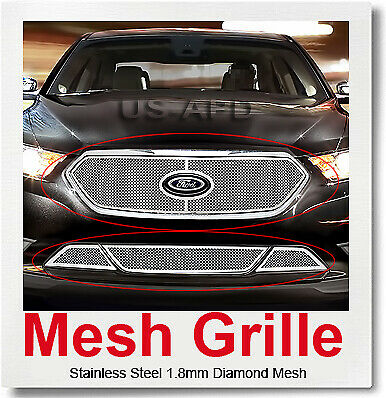 Fits 2013-2015 Ford Taurus with Honeycomb Bumper Stainless Mesh Grille Combo