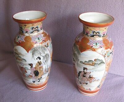 2 Tall Antique Victorian Porcelain Kutani Vases Hand Painted Signed
