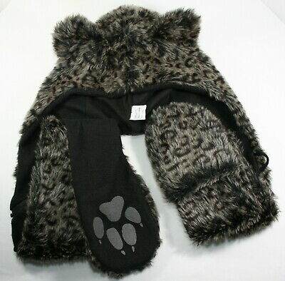Warm Soft Hat With Long Scarf Mittens Hood Faux Fur Attached Gloves Leopard paws