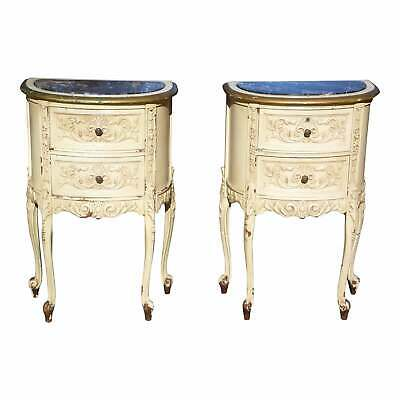 Vintage Pair French Rococo Painted Marble Top Demilune Nightstands End Tables