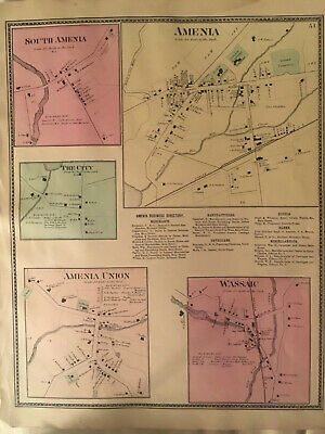 Amenia and Wassaic, Dutchess County, NY 1867 Lithograph by F.W. Beers