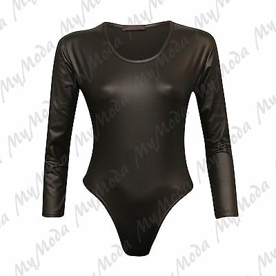 Ladies Women's Long Sleeve Wet Look PU Scoop Neck Bodysuit Leotard Top 8-14