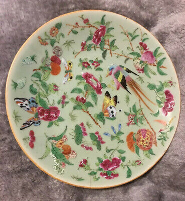 Antique Rose Famille Chinese Porcelain Plate Hand Painted Qing Qianlong Celadon