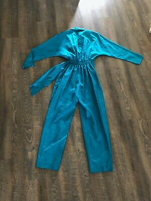 Vintage 80s 90s Womens Retro Jumpsuit Flight Suit Romper Pants Utility Suit