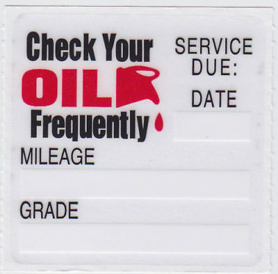 48 Oil Change Reminder Stickers Clear Static Cling Decals Fast Free Shipping