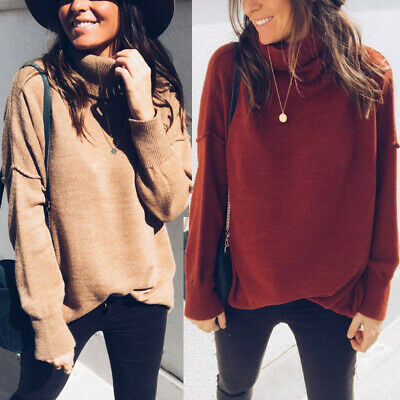 Women's Fashion Solid Turtleneck Sweater Long Sleeve Knit Pullover Blouse Tops