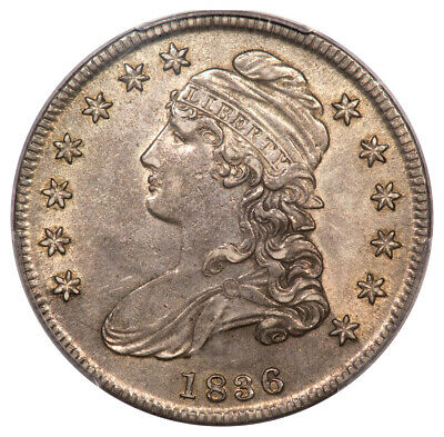 1836 50C Lettered Edge Capped Bust Half Dollar PCGS AU50 O-113