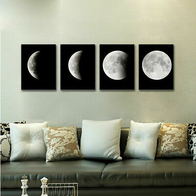 Canvas Print Painting Pictures Home Decor Wall Art Moon on Black New Eclipse