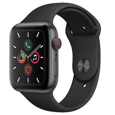 Apple Watch Series 5 GPS + Cellular 44mm Space Gray Black Sport Band MWW12LL/A