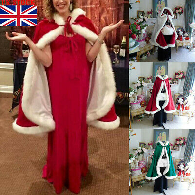 Christmas Game Velvet Hooded Cloak Cape Robe Medieval Witchcraft Hooded Witch UK
