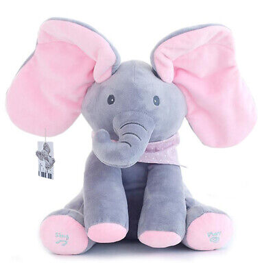 Singing Plush Elephant Toy Peek-a-Boo Animated Talking Stuffed Doll For Baby New