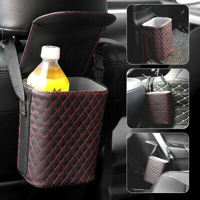 Portable Car Trash Can Pop-up Leak Proof Trash Bin Box Hanging PU Leather Bag