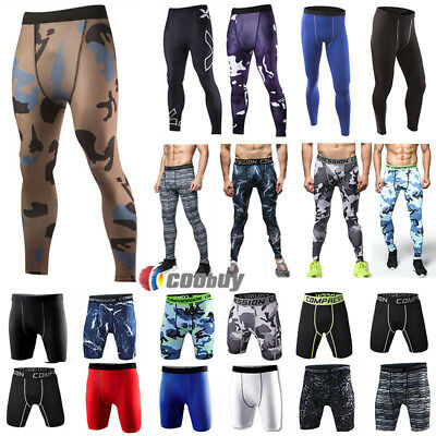 Mens Compression Under Skins Shorts Leggings Pants Sports Gym Run Slim Trousers