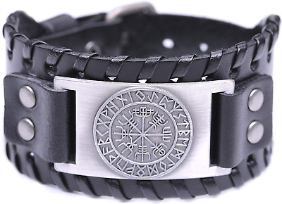 EUEAVAN Ancient Viking Vegvisir Compass 24 Amulet Runes Braided Wide Leather