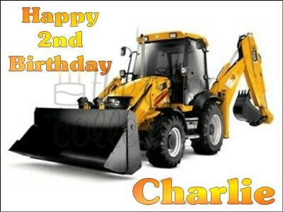 Jcb Digger Edible Cake Topper / Icing / Wafer / Many Sizes