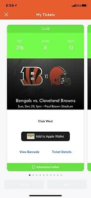 2 BROWNS @ BENGALS CLUB LEVEL! CLUB AMENITIES W/ Pre Game On Field Passes. Row 8