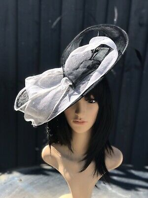 Suzanne Bettley Black And White Wedding Hat Disc Fascinator Formal Occasion
