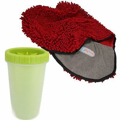 "Large Green Paw Cleaner  For Dogs - Paw Size upto 3.5"" & Red Microfiber Towel"