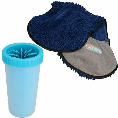 "Large Blue Paw Cleaner  For Dogs - Paw Size upto 3.5"" & Blue Microfiber Towel"