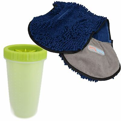 "Large Green Paw Cleaner  For Dogs - Paw Size upto 3.5"" & Blue Microfiber Towel"