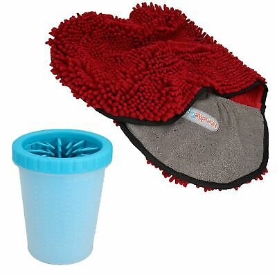 "MED Blue Paw Cleaner For Dogs - Paw Size upto 2.5"" & Red Microfiber Towel"