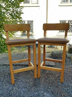 A Really Retro Pair of Vintage Mid Century Flame Oak Stools Very Stylish