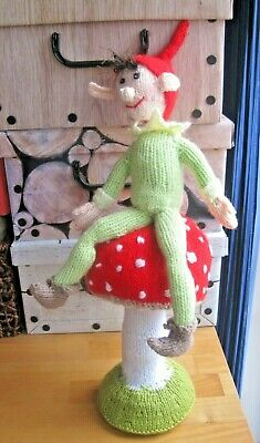 Hand Knitted Large Elf And Toadstool Shelf Sitter. Xmas Magic!