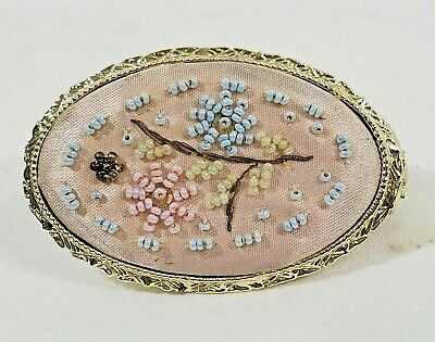 TSV VINTAGE Hinged Lipstick Holder Mirror Compact Case With Floral Beading EUC