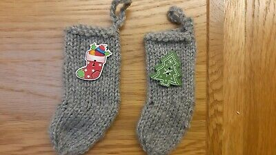 Pack Of 2 Antique White Hand Knitted Mini Christmas Stockings with Buttons