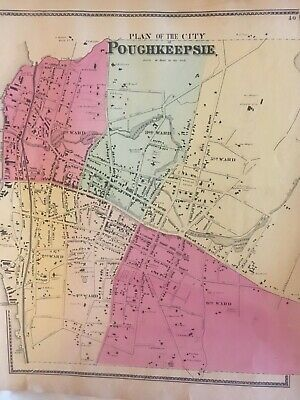 Plan of the City of Poughkeepsie, Dutchess County, NY 1867 Lithograph, Beers