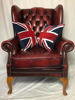 1 Regency Style Handmade Chesterfield Leather High Wingback Armchair Oxblood Red